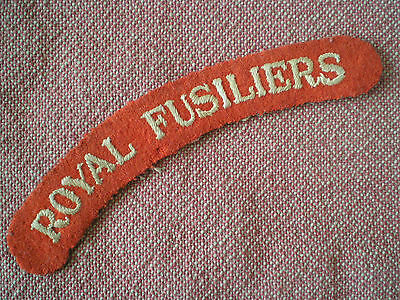 WW2 Period ROYAL FUSILIERS CLOTH SHOULDER TITLE