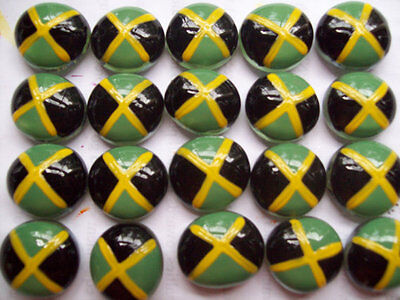 Hand painted Glass Gems party favors mini art Jamaican flag flags