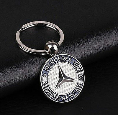 Genuine Mercedes Benz Vintage Star Key Ring Classic Silver-coloured/blue