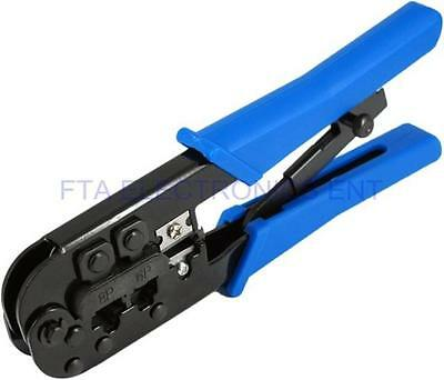 RJ11 and RJ12 Cat5 CAT6 Telephone and RJ45 Network LAN Cable Crimping Tool Blue