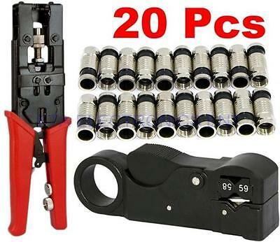 20Pcs RG6 Compression Connectors Wire Cable Stripper Crimping Universal Pro Tool