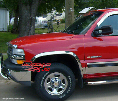 2007-2013 Chevy Silverado 1500 Long Style - 304 Stainless Steel Fender Trims