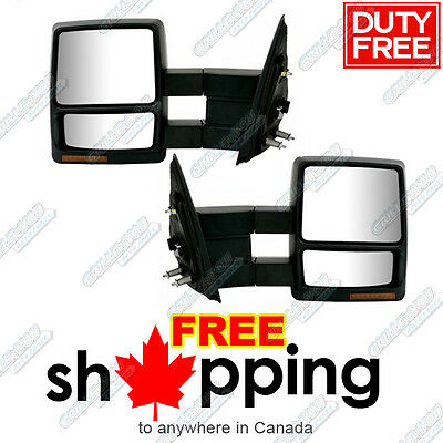 2007-2013 Ford F-150 Power Heated Signal Texture Cover Towing Mirror Pair