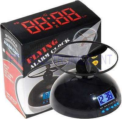 Digital LCD Creative Wake Up Flying Helicopter Screw Propeller Clock Toy Alarm