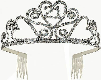 21st Birthday Glitter Tiara Adult Crown Silver Sparkle Accesory Legally 21 NEW