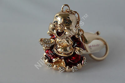 Bejewelled Happy Laughing Buddha Key Chain Hanging Charm Feng Shui Protection