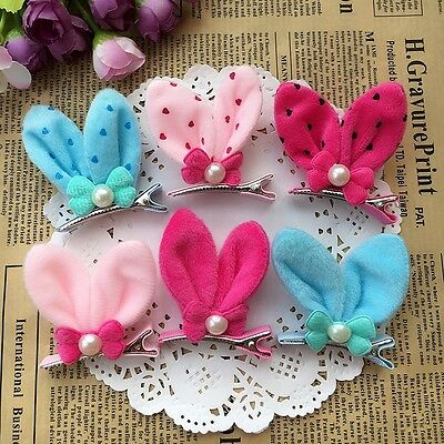 12PCS/lot Dogs mix bow Dog Puppy Hairpins Hair Clips Pet rabbit ear Accessories