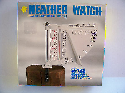 Karbrite Weather Watch Rain Gauge Wind Speed Thermometer New in Box Vintage USA