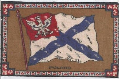 "Early 1900's Tobacco Felt Flag of Poland -100+ Yrs Old - Nice  (5-1/4"" x 8-1/4"")"