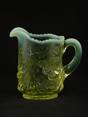 Vaseline Glass Opalescent CHERRIES CREAMER PITCHER - #1