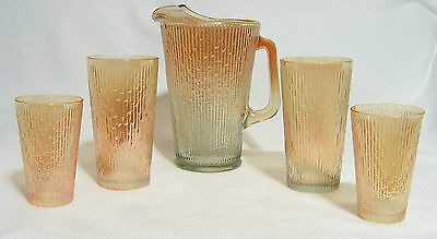 Jeanette Tree Bark Carnival Glass Pitcher w/Four Glasses