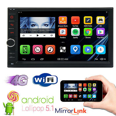 "Quad Core Android 5.1 4G WIFI 7"" Double 2DIN Car Radio Stereo DVD Player GPS Nav"