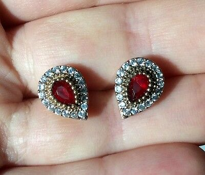 High Quality 925 Sterling Silver Fabulous Turkish Ruby Earrings
