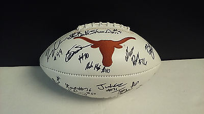 TEXAS LONGHORNS Team SIGNED Logo Football SHANE BUECHELE +