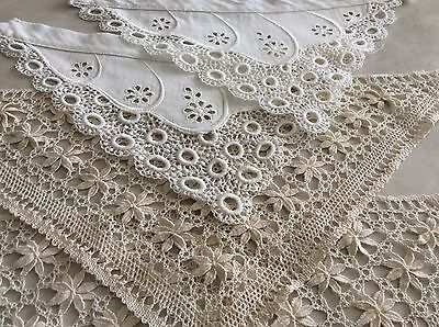 Vintage French Dolls Victorian Delicate LACE Collars Embroidery Anglaise Costume