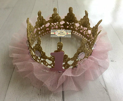 Pink & Gold TuTu Tulle Lace Princess Crown, Baby Photo Prop, Baby Shower Decor,
