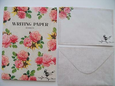 Writing Note Pad Paper & Envelopes New Stationery Set Roses & Bird 20 Sheets