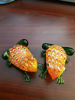 feng shui 2 Frog Minature Hand Blown Glass Orange Green  Figurine Wealth Harmony