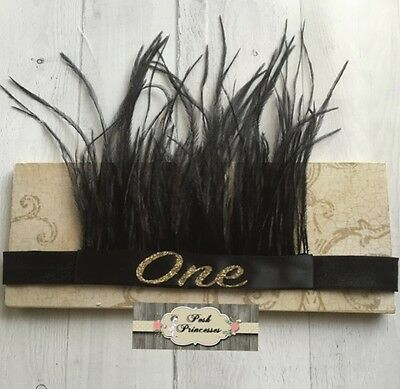 Baby Vintage Feather Headband Glitter Number ONE Black & Gold Baby Headdress