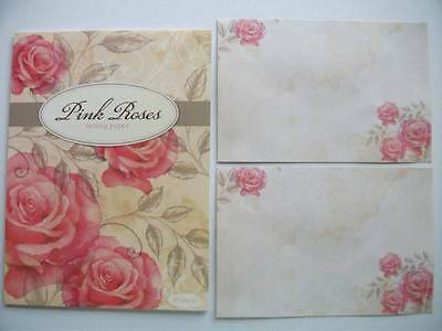 Writing Note Pad Paper With Envelopes Stationery Set New Pink Roses 20 Sheets