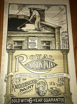 Knickerbocker Paint Royal Carbon Graphic Art Advertising Flyer C1900 New York