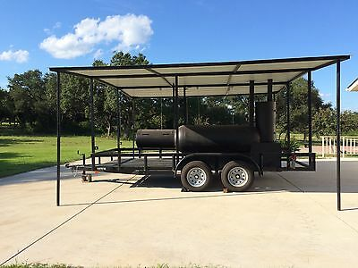 New Custom Reverse smoke grill, charcoal grill, smoker on 16ft covered trailer