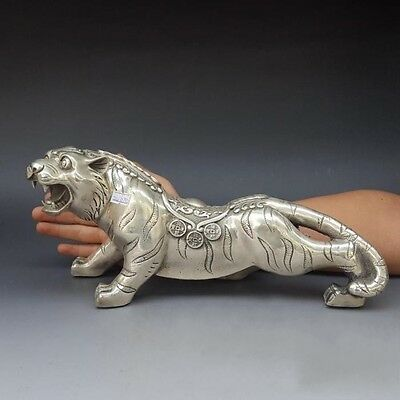 """13"""" Old China FengShui Silver  Auspicious Carved Wealth Money Coin Tiger Statue"""