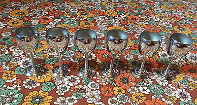 """VTG Lot of 6 Stainless Steel Church Altar Communion Cups 5"""" Wine Goblets Silver"""