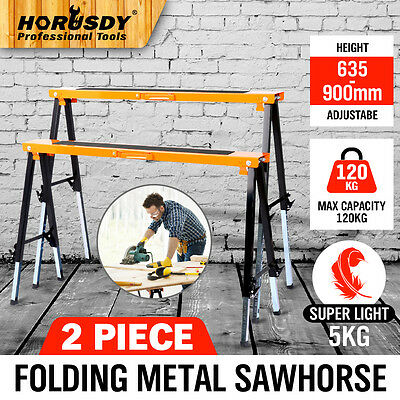 2PC Saw Horse Metal Folding Non-slip Trestle Work Bench Stand Support 120KG New