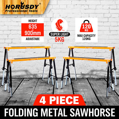 4PC Saw Horse Adjustable Height Metal Folding Non-slip Trestle Work Bench Stands