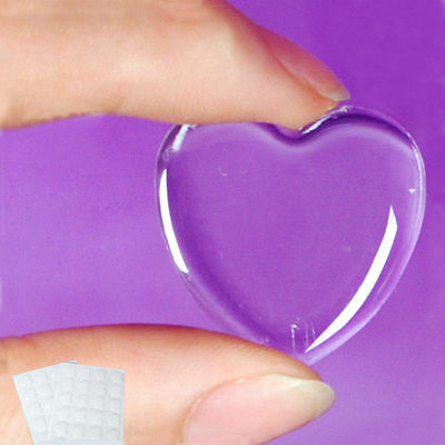 "Sticker Adhesive Crystal Clear 24/48/72 Pcs Epoxy Bottle Caps 3D 1"" Heart Shape"