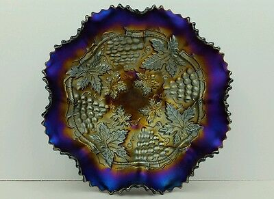 Northwood Grape & Cable Dark Electric Iridescent Ruffled Bowl In Amethyst