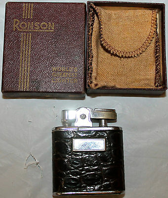 Vintage Ronson Whirlwind Brown Leather Cigarette Lighter with original box