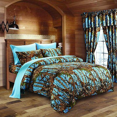 22 Pc Set! Powder Blue Camo Bedding King Size Comforter Sheet Curtain Camouflage
