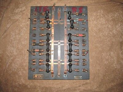 Antique Frankenstein 12 Copper Knife Switches on Slate Mutual Electric Steampunk