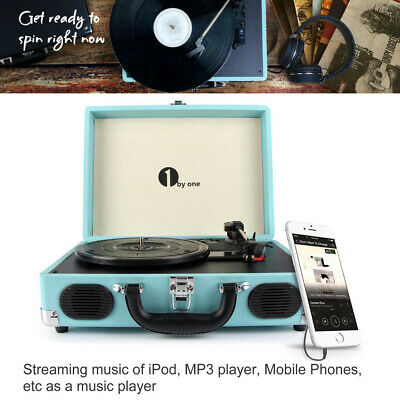 Portable Vintage Vinyl Record Player Stereo Belt Drive Turntable W/ MP3 Speaker