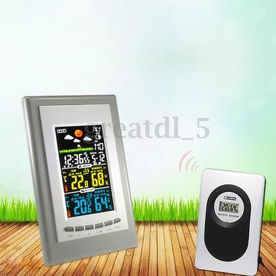 Digital LCD Wireless Weather Station Clock Calendar Indoor / Outdoor Thermometer