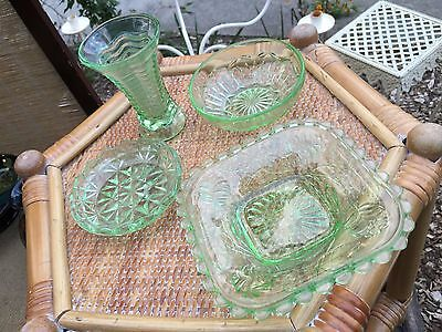 Collection of Vintage 1930's Art Deco Australian Green Depression Glass Items