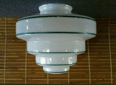 Art Deco Beehive Stepped Glass Light Cover Green Stripe Trim