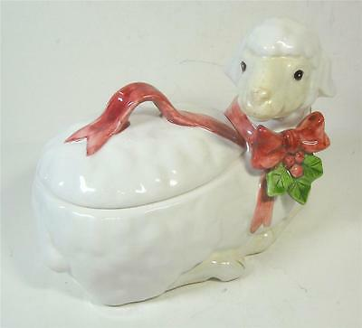 Fitz And Floyd Holiday Sheep Lidded Box 1984 Japan