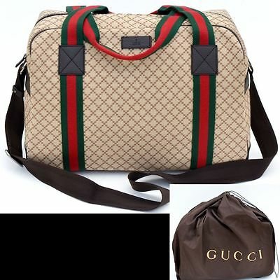 GUCCI New Authentic Designer Web Carry-on Travel Diaper Shoulder Duffle Bag