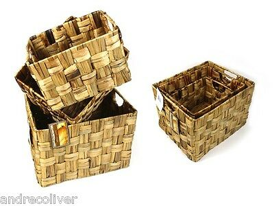 Rectangle Hyacinth Basket Set of 4 Storage Vintage Rustic Home Decor Laundry