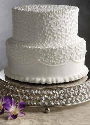 """Crystal Beaded Glass Wedding Cake Stands Silver Cake Cups Plates Round 14"""" Size"""
