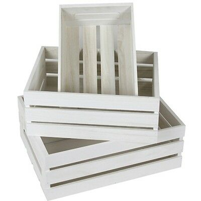 3 Wood Nested Rustic Crates Storage Boxes Box Decoration