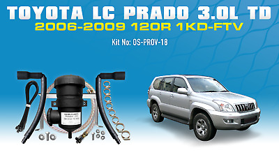 ProVent Oil Catch Can Kit for Toyota Prado 2002-2009 3.0L 120s 1KD-FTV w/wo: ABS