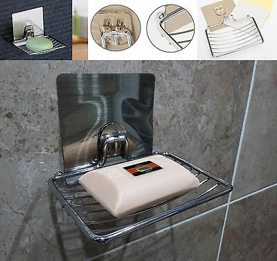 New Chrome Suction Wall Soap Dish Holder Bathroom Shower Cup Stick On