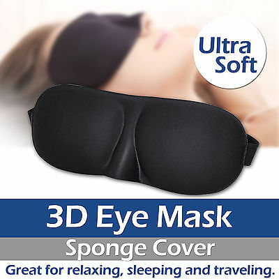 3D Soft Padded Blindfold Eye Mask Travel Rest Sleep Aid Shade Cover Unisex UK