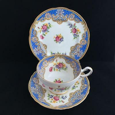 PARAGON HONITON BLUE TRIO cup saucer and plate VINTAGE