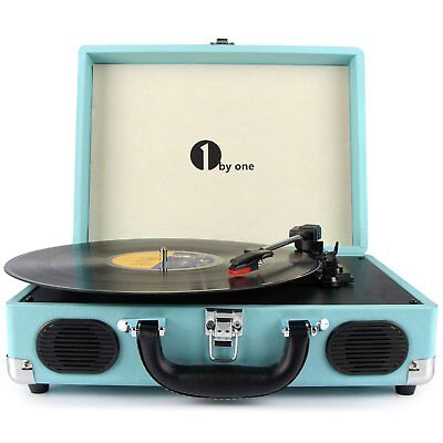 1byone Vintage Vinyl Record Player Stereo Turntable W/ Speaker MP3 Turquoise