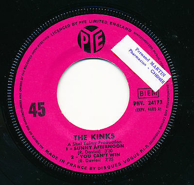 """The Kinks 45 Tours Ep 7"""" France Sunny Afternoon"""